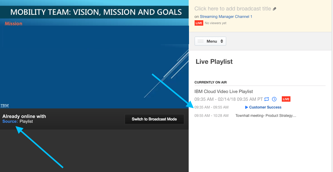 Using Live Playlists to schedule video playback – IBM Watson