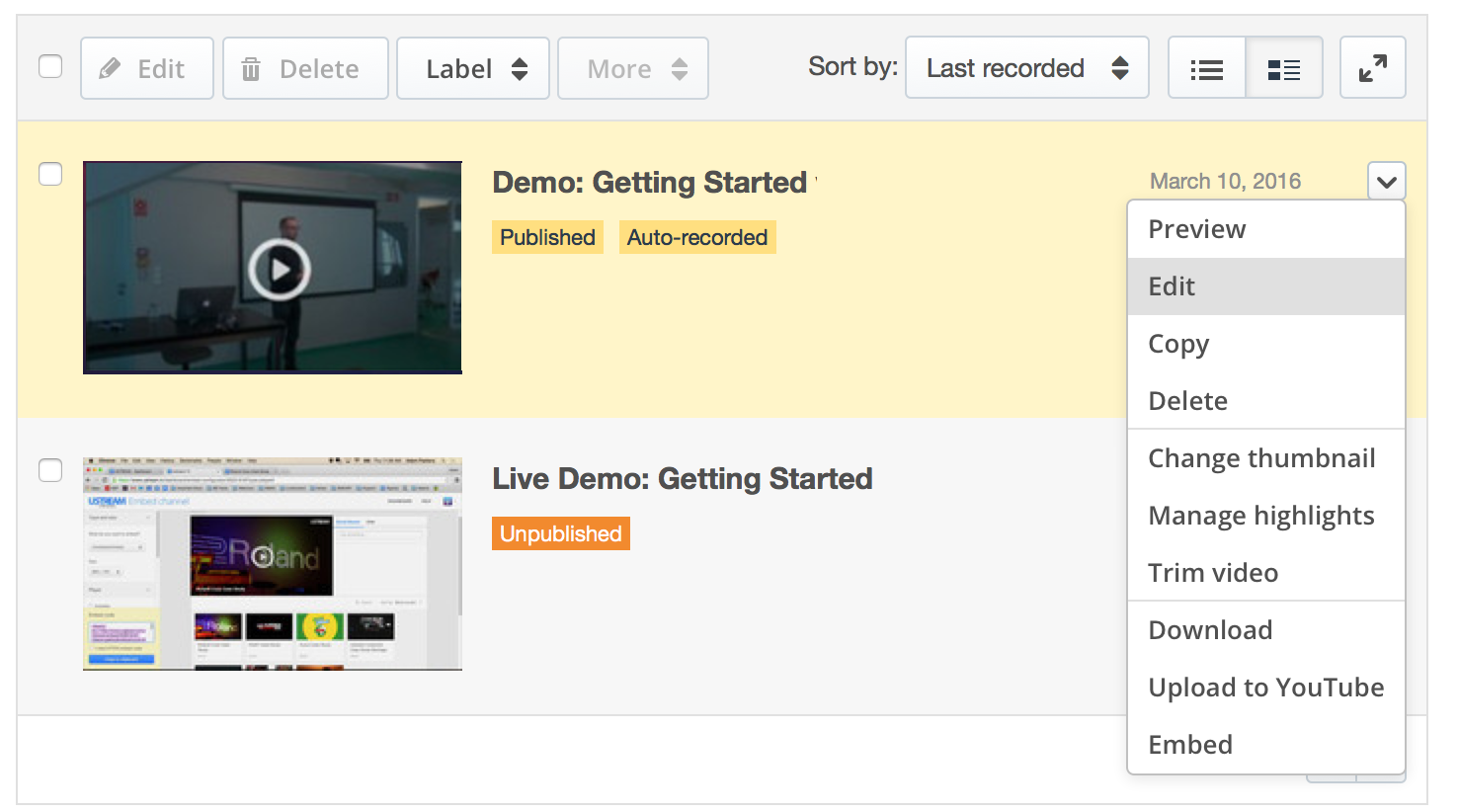 Managing recorded videos in your IBM Watson Media account